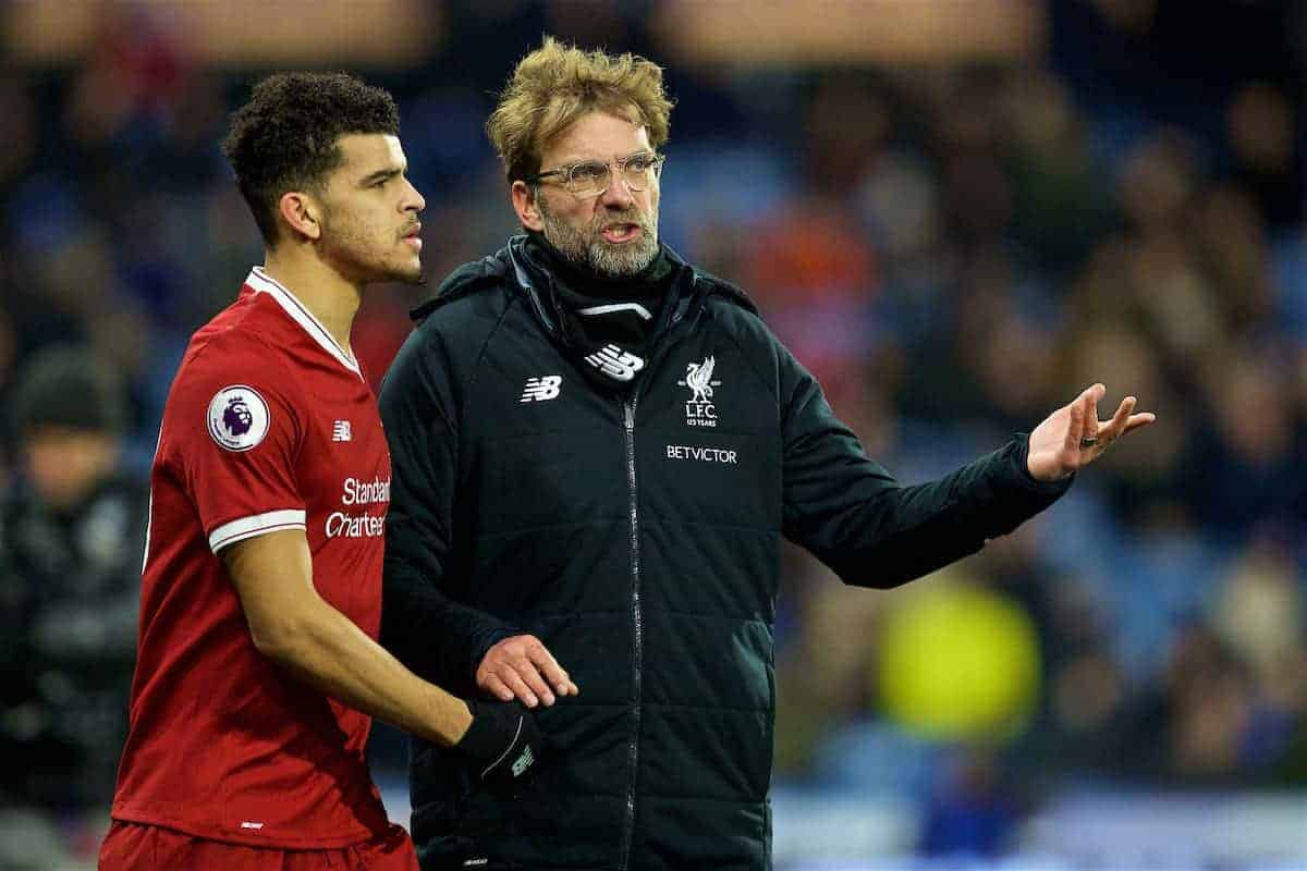 HUDDERSFIELD, ENGLAND - Tuesday, January 30, 2018: Liverpool's manager Jürgen Klopp and substitute Dominic Solanke during the FA Premier League match between Huddersfield Town FC and Liverpool FC at the John Smith's Stadium. (Pic by David Rawcliffe/Propaganda)