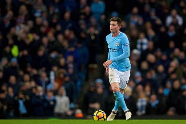 MANCHESTER, ENGLAND - Wednesday, January 31, 2018: Manchester City's Aymeric Laporte during the FA Premier League match between Manchester City FC and West Bromwich Albion FC at the City of Manchester Stadium. (Pic by David Rawcliffe/Propaganda)