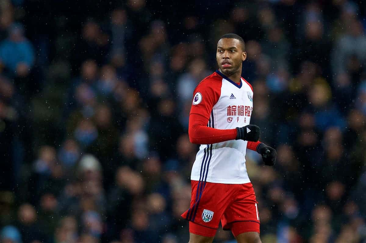 MANCHESTER, ENGLAND - Wednesday, January 31, 2018: West Bromwich Albion's Daniel Sturridge during the FA Premier League match between Manchester City FC and West Bromwich Albion FC at the City of Manchester Stadium. (Pic by David Rawcliffe/Propaganda)