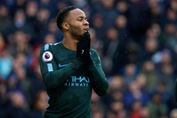BURNLEY, ENGLAND - Saturday, February 3, 2018: Manchester City's Raheem Sterling looks dejected after missing a chance during the FA Premier League match between Burnley FC and Manchester City FC at Turf Moor. (Pic by David Rawcliffe/Propaganda)