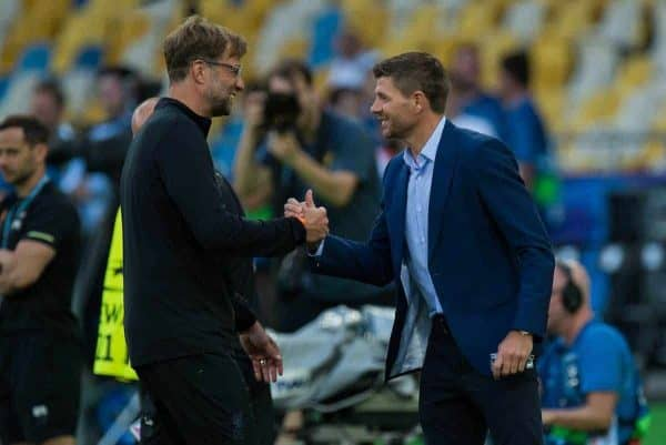 KIEV, UKRAINE - Friday, May 25, 2018: Liverpool's manager Jurgen Klopp reacts with former players Steven Gerrard during a training session at the NSC Olimpiyskiy ahead of the UEFA Champions League Final match between Real Madrid CF and Liverpool FC. (Pic by Peter Powell/Propaganda)