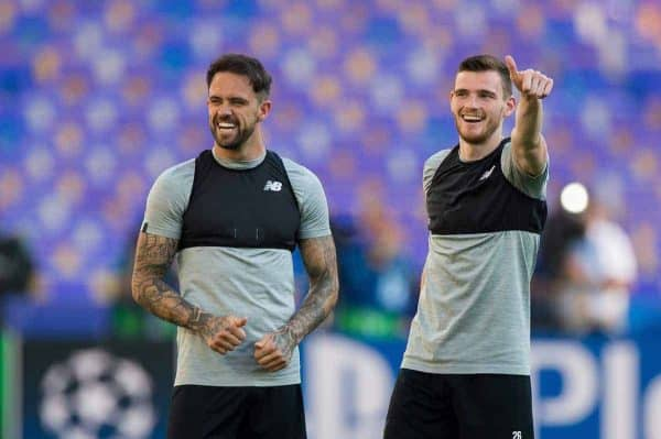 KIEV, UKRAINE - Friday, May 25, 2018: Liverpoolís Danny Ings and Andrew Robertson during a training session at the NSC Olimpiyskiy ahead of the UEFA Champions League Final match between Real Madrid CF and Liverpool FC. (Pic by Peter Powell/Propaganda)