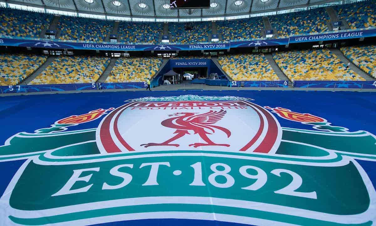 KIEV, UKRAINE - Friday, May 25, 2018: A general view of a giant Liverpool badge on the floor inside the NSC Olimpiyskiy ahead of the UEFA Champions League Final match between Real Madrid CF and Liverpool FC. (Pic by Peter Powell/Propaganda)