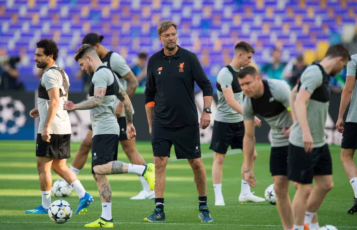 KIEV, UKRAINE - Friday, May 25, 2018: Liverpool's manager Jurgen Klopp during a training session at the NSC Olimpiyskiy ahead of the UEFA Champions League Final match between Real Madrid CF and Liverpool FC. (Pic by Peter Powell/Propaganda)