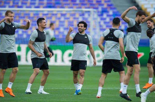 KIEV, UKRAINE - Friday, May 25, 2018: Liverpoolís Dejan Lovren with Mohamed Salah during a training session at the NSC Olimpiyskiy ahead of the UEFA Champions League Final match between Real Madrid CF and Liverpool FC. (Pic by Peter Powell/Propaganda)