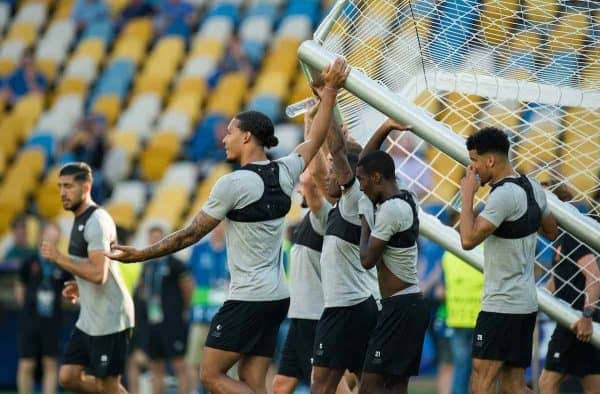 KIEV, UKRAINE - Friday, May 25, 2018: Liverpoolís players lead by Virgil van Dijk help lift and move a goal during a training session at the NSC Olimpiyskiy ahead of the UEFA Champions League Final match between Real Madrid CF and Liverpool FC. (Pic by Peter Powell/Propaganda)