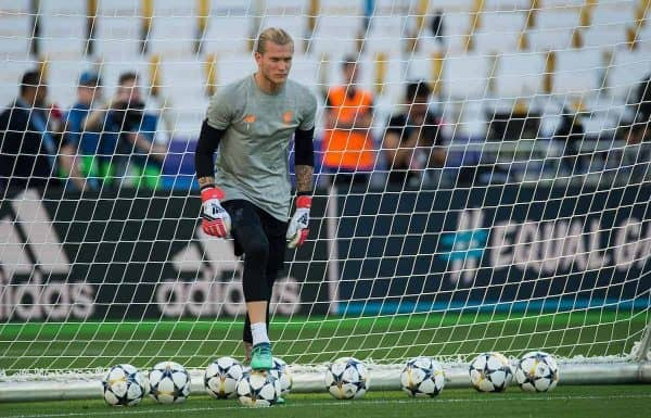 KIEV, UKRAINE - Friday, May 25, 2018: Liverpool's Loris Karius during a training session at the NSC Olimpiyskiy ahead of the UEFA Champions League Final match between Real Madrid CF and Liverpool FC. (Pic by Peter Powell/Propaganda)