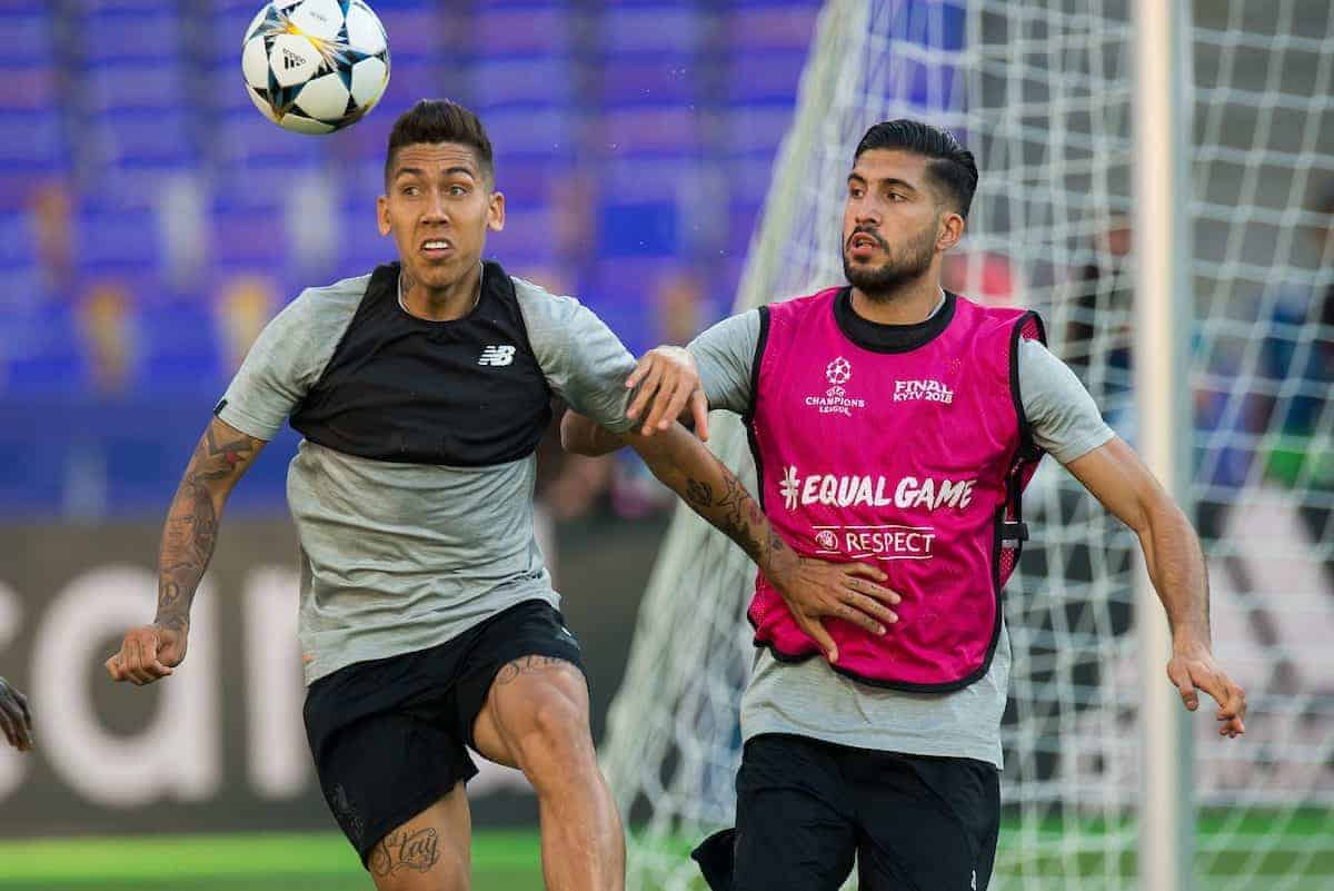 KIEV, UKRAINE - Friday, May 25, 2018: Liverpool's Roberto Firmino in action with Emre Can during a training session at the NSC Olimpiyskiy ahead of the UEFA Champions League Final match between Real Madrid CF and Liverpool FC. (Pic by Peter Powell/Propaganda)