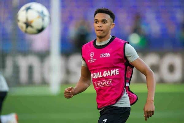 KIEV, UKRAINE - Friday, May 25, 2018: Liverpoolís Trent Alexander-Arnold in action during a training session at the NSC Olimpiyskiy ahead of the UEFA Champions League Final match between Real Madrid CF and Liverpool FC. (Pic by Peter Powell/Propaganda)