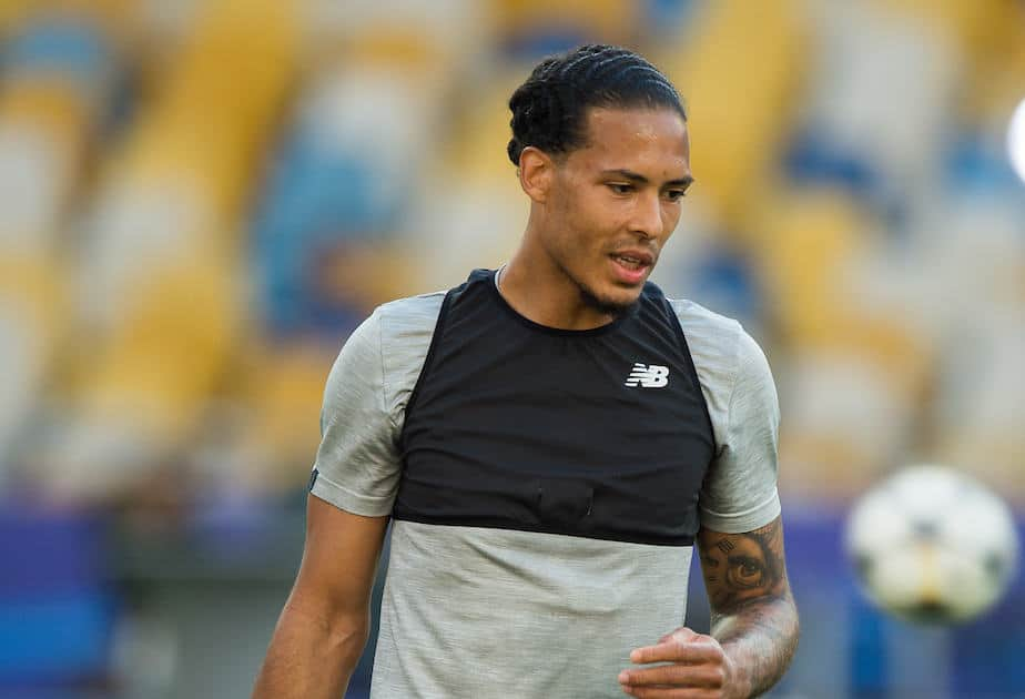 KIEV, UKRAINE - Friday, May 25, 2018: Liverpoolís Virgil van Dijk during a training session at the NSC Olimpiyskiy ahead of the UEFA Champions League Final match between Real Madrid CF and Liverpool FC. (Pic by Peter Powell/Propaganda)