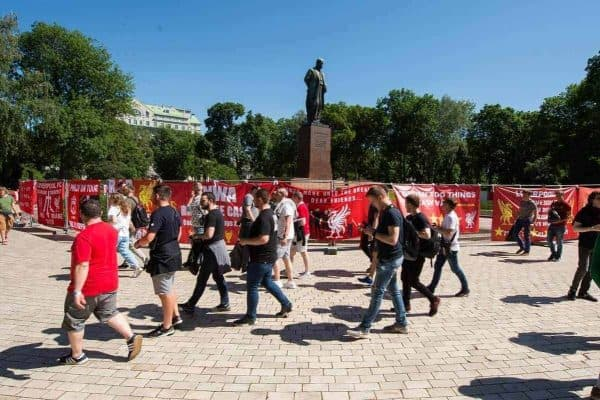 KIEV, UKRAINE - Saturday, May 26, 2018: Liverpool fans place flag and banners around Shevchenko Park ahead of the UEFA Champions League Final match between Real Madrid CF and Liverpool FC. (Pic by Peter Powell/Propaganda)