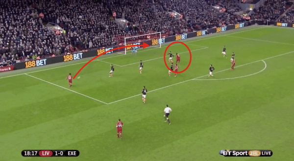 With Allen passing the ball out the Teixeira, Benteke headed straight to the far post...