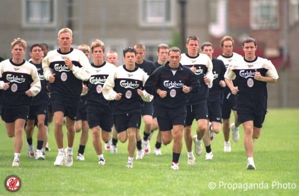 Youth coach Hugh McAuley leads the youth players during a training session at the club's Melwood Training Ground. Xxxx, xxxx, Paul Dalglish, Lee Jones, Jamie Carragher, xxxx. (Pic by David Rawcliffe/Propaganda)
