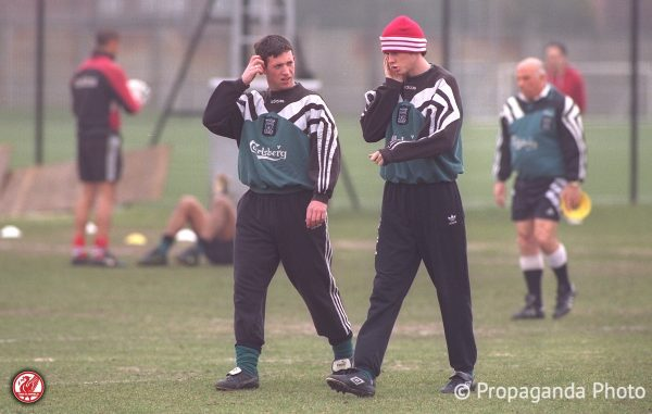 Liverpool's Robbie Fowler (L) and Steve McManaman during a training session at the club's Melwood Training Ground. (Pic by David Rawcliffe/Propaganda)