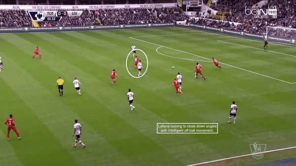 Lallana looking to close down angles with intelligent off-ball movement.