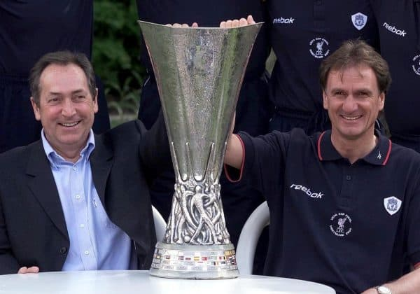 Houllier and Phil Thompson, UEFA Cup, 2001 (Phil Noble/PA)