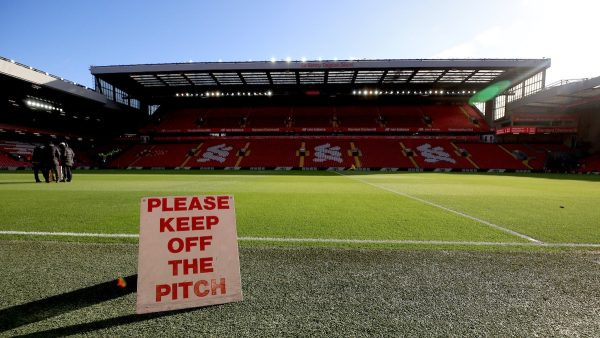 Anfield, matchday, keep off the pitch sign (PA Media)