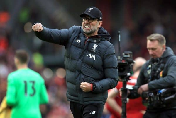Jurgen Klopp first pump celebrates (Mike Egerton/PA)