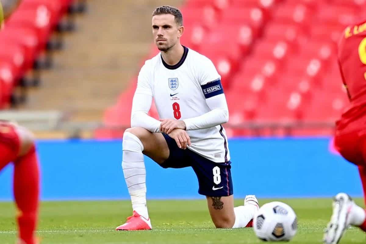 Jordan Henderson take a knee, England
