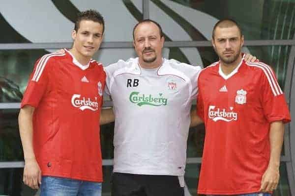 LIVERPOOL, ENGLAND - Thursday, July 10, 2008: Liverpool's two new signings Andrea Dossena (R) and Philipp Degen (L) with manager Rafael Benitez at the club's Melwood Training Ground. Dossena signed from Italian club Udinese and Degen from German side Borussia Dortmund. (Photo by David Rawcliffe/Propaganda)