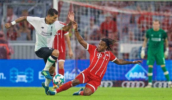 MUNICH, GERMANY - Tuesday, August 1, 2017: Liverpool's Roberto Firmino during the Audi Cup 2017 match between FC Bayern Munich and Liverpool FC at the Allianz Arena. (Pic by David Rawcliffe/Propaganda) Renato Sanches
