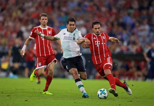 MUNICH, GERMANY - Tuesday, August 1, 2017: Liverpool's Roberto Firmino and Bayern Munich's Mats Hummels during the Audi Cup 2017 match between FC Bayern Munich and Liverpool FC at the Allianz Arena. (Pic by David Rawcliffe/Propaganda)