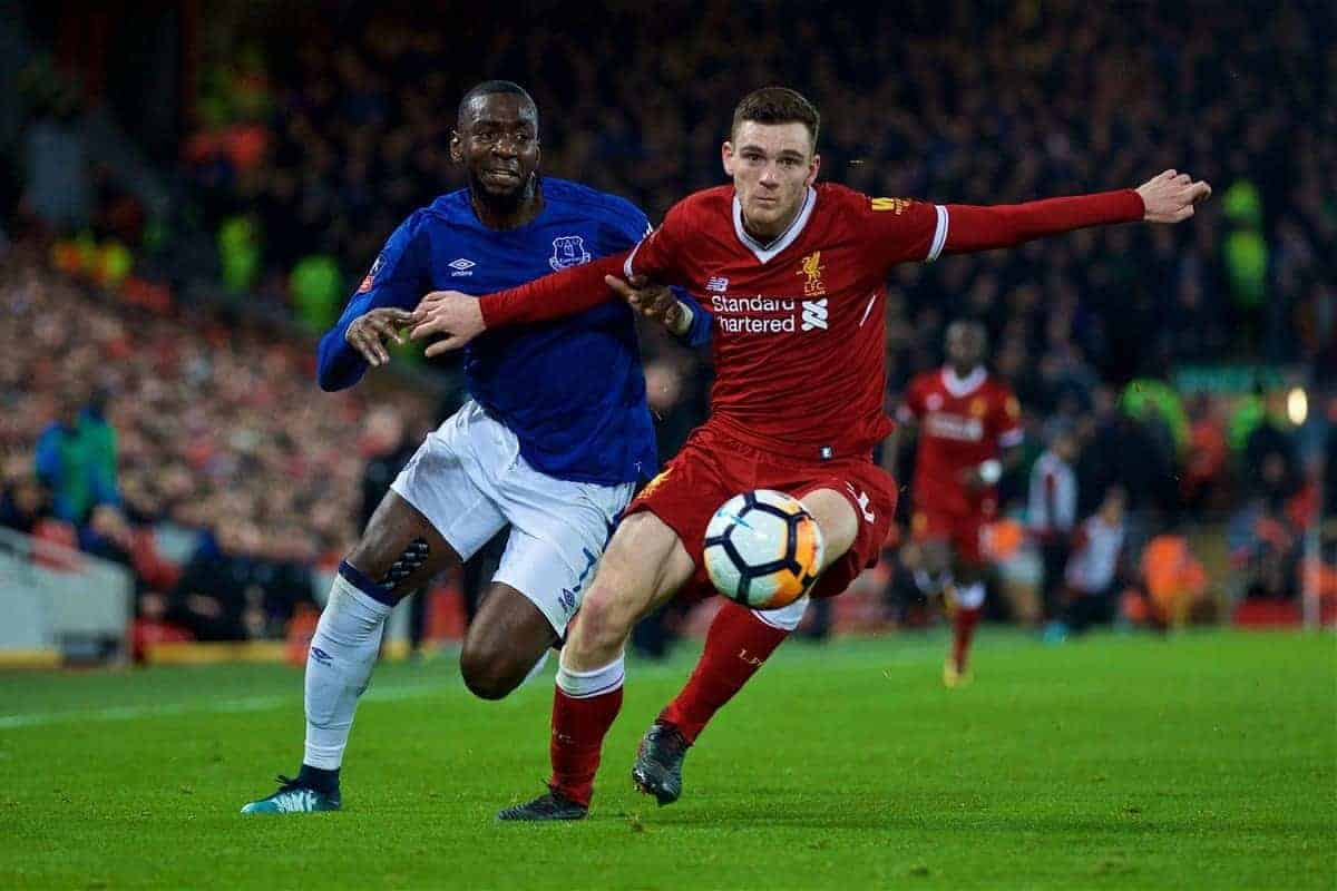 LIVERPOOL, ENGLAND - Friday, January 5, 2018: Liverpool's Andy Robertson and Everton's Yannick Bolasie during the FA Cup 3rd Round match between Liverpool FC and Everton FC, the 230th Merseyside Derby, at Anfield. (Pic by David Rawcliffe/Propaganda)