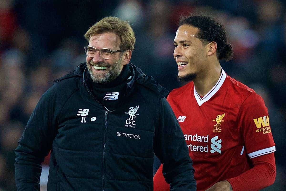 LIVERPOOL, ENGLAND - Friday, January 5, 2018: Liverpool's match winning goal-scorer Virgil van Dijk celebrates with manager J¸rgen Klopp after the 2-1 victory over Everton during the FA Cup 3rd Round match between Liverpool FC and Everton FC, the 230th Merseyside Derby, at Anfield. (Pic by David Rawcliffe/Propaganda)