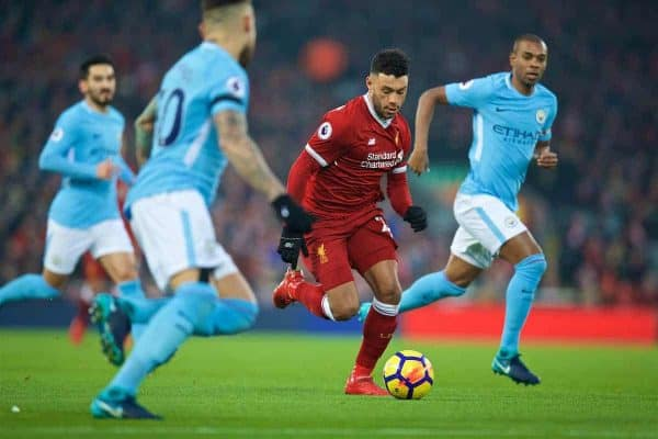 Liverpool's Alex Oxlade-Chamberlain on his run towards scoring the opening goal during the FA Premier League match between Liverpool and Manchester City at Anfield. (Pic by David Rawcliffe/Propaganda)