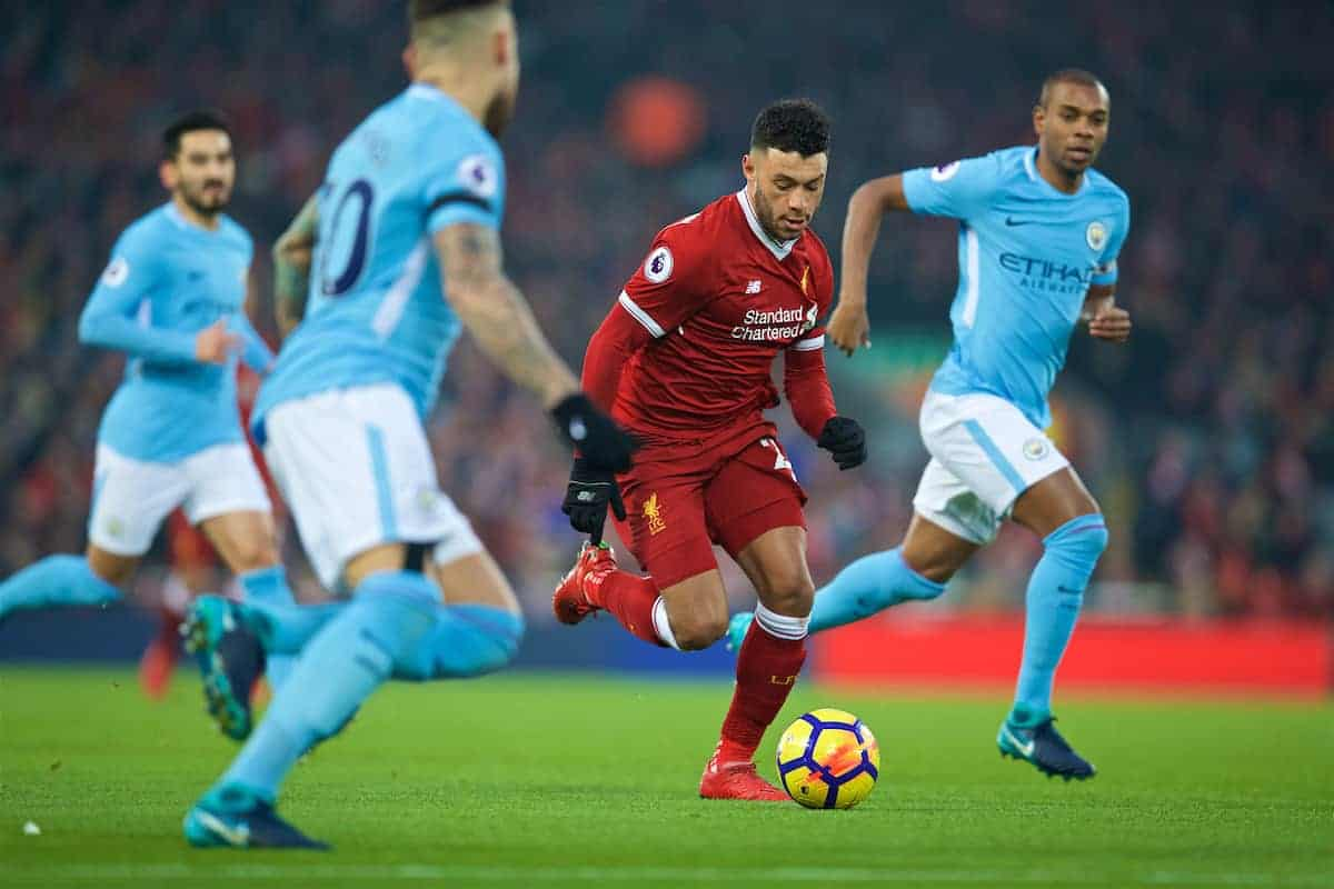LIVERPOOL, ENGLAND - Sunday, January 14, 2018: Liverpool's Alex Oxlade-Chamberlain on his run towards scoring the opening goal during the FA Premier League match between Liverpool and Manchester City at Anfield. (Pic by David Rawcliffe/Propaganda)