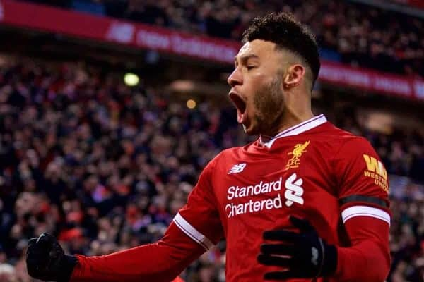 LIVERPOOL, ENGLAND - Sunday, January 14, 2018: Liverpool's Alex Oxlade-Chamberlain celebrates scoring the opening goal during the FA Premier League match between Liverpool and Manchester City at Anfield. (Pic by David Rawcliffe/Propaganda)