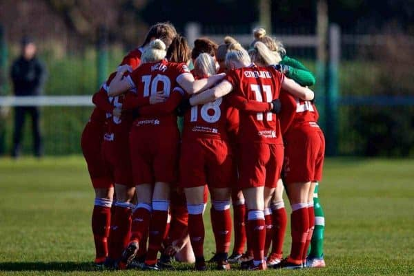 LIVERPOOL, ENGLAND - Sunday, February 4, 2018: Liverpool players form a pre-match huddle during the Women's FA Cup 4th Round match between Liverpool FC Ladies and Watford FC Ladies at Walton Hall Park. (Pic by David Rawcliffe/Propaganda)