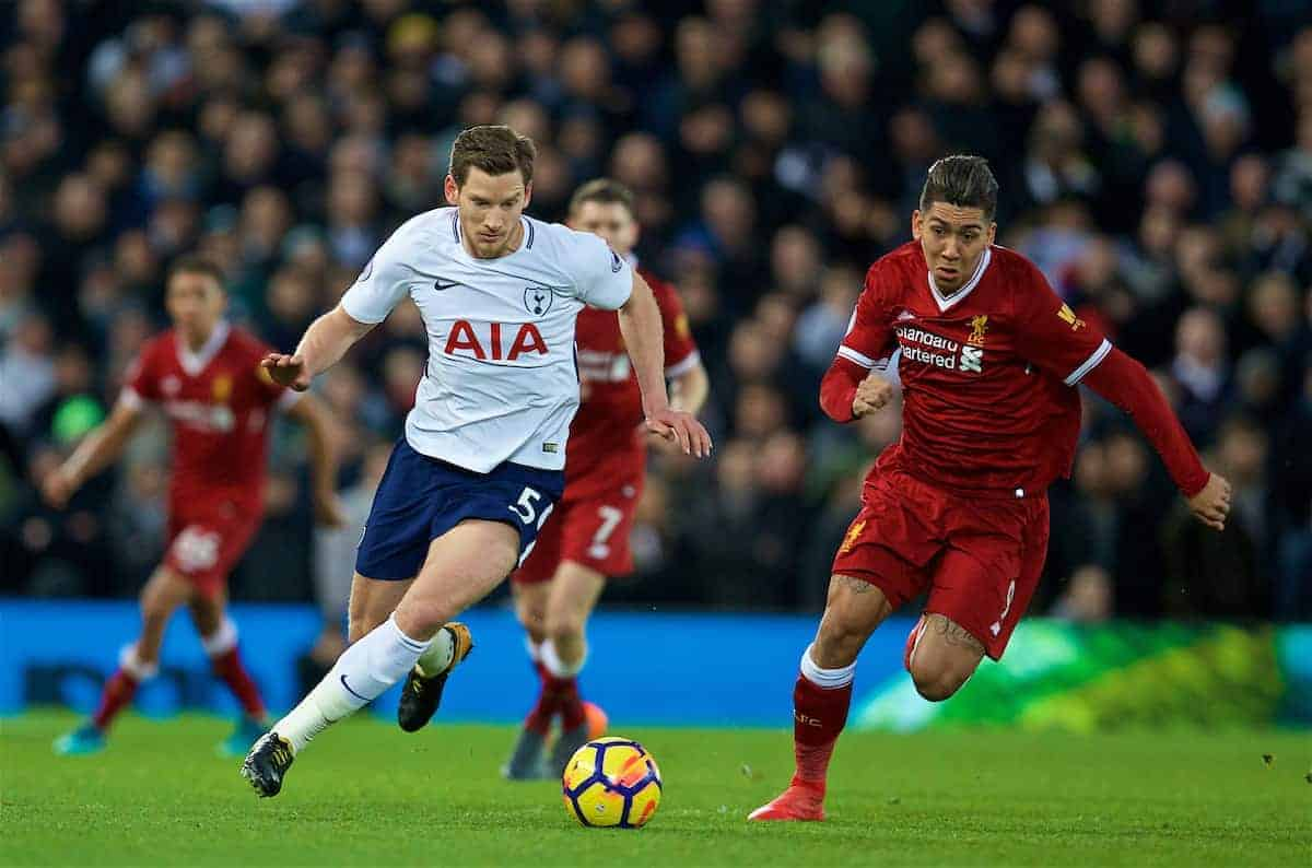 LIVERPOOL, ENGLAND - Sunday, February 4, 2018: Tottenham Hotspur's Jan Vertonghen and Liverpool's Roberto Firmino during the FA Premier League match between Liverpool FC and Tottenham Hotspur FC at Anfield. (Pic by David Rawcliffe/Propaganda)