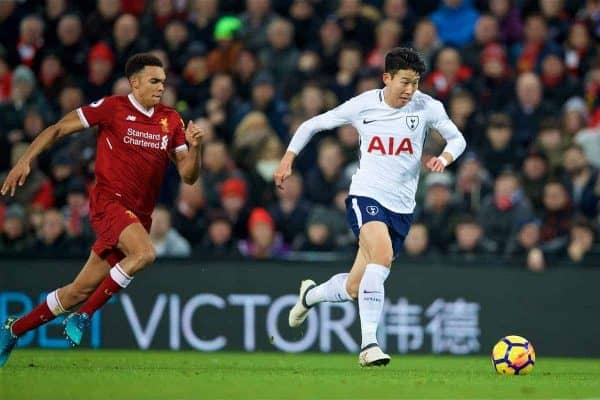 LIVERPOOL, ENGLAND - Sunday, February 4, 2018: Tottenham Hotspurs' Son Heung-min during the FA Premier League match between Liverpool FC and Tottenham Hotspur FC at Anfield. (Pic by David Rawcliffe/Propaganda)