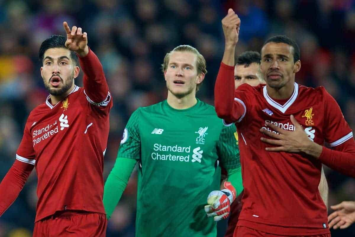 LIVERPOOL, ENGLAND - Sunday, February 4, 2018: Liverpool's Emre Can, goalkeeper Loris Karius and Joel Matip complain as referee Jonathan Moss awards a penalty with the help of the assistant referee during the FA Premier League match between Liverpool FC and Tottenham Hotspur FC at Anfield. (Pic by David Rawcliffe/Propaganda)