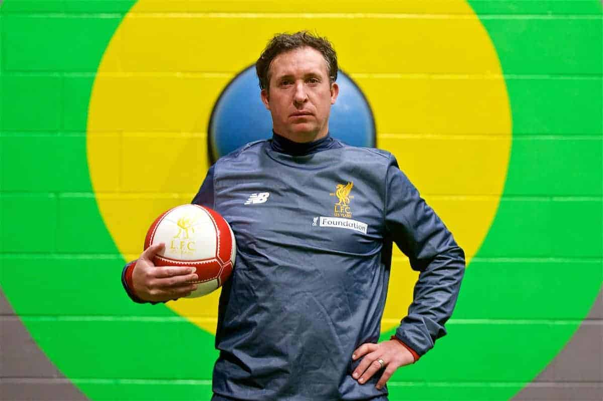 LIVERPOOL, ENGLAND - Wednesday, February 7, 2018: Robbie Fowler poses for a portrait during a media session at the Liverpool Academy ahead of the LFC Foundation charity match between a Liverpool FC Legends team and FC Bayern Munich Legends. (Pic by David Rawcliffe/Propaganda)