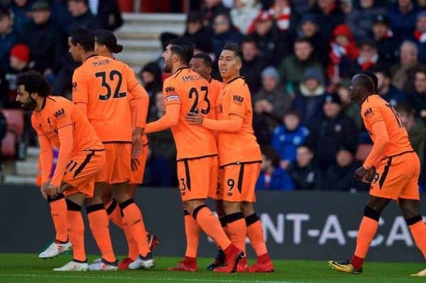 SOUTHAMPTON, ENGLAND - Sunday, February 11, 2018: Liverpool's Roberto Firmino celebrates scoring the first goal with team-mates during the FA Premier League match between Southampton FC and Liverpool FC at St. Mary's Stadium. (Pic by David Rawcliffe/Propaganda)