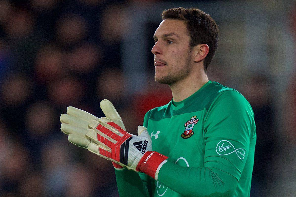 SOUTHAMPTON, ENGLAND - Sunday, February 11, 2018: Southampton's goalkeeper Alex McCarthy during the FA Premier League match between Southampton FC and Liverpool FC at St. Mary's Stadium. (Pic by David Rawcliffe/Propaganda)