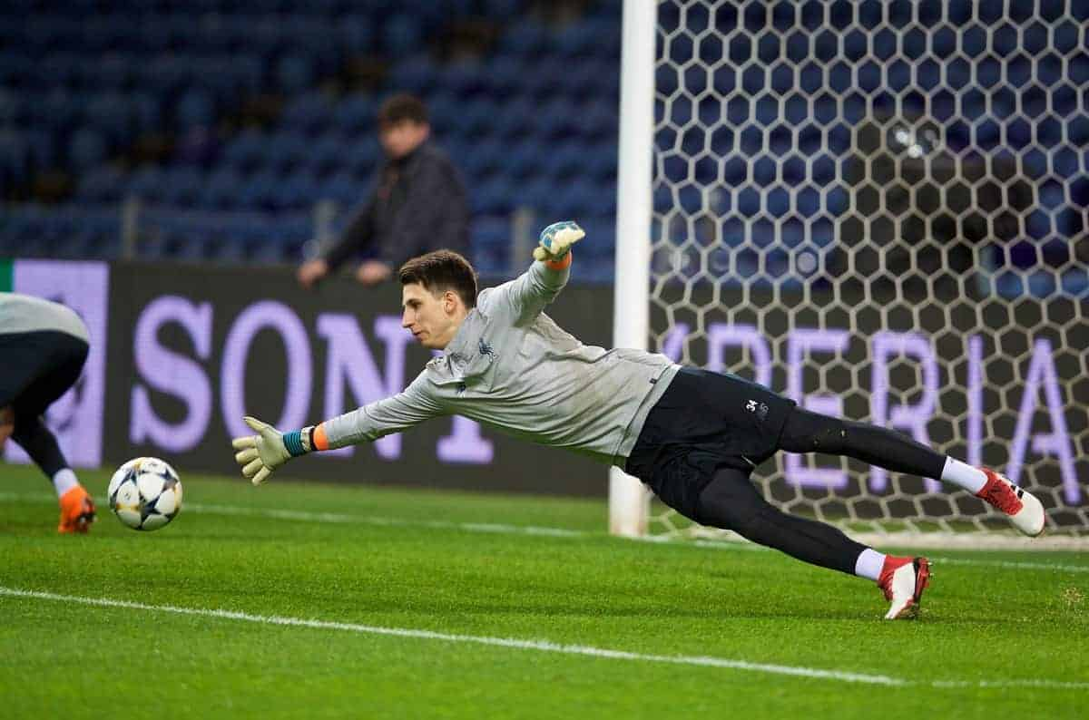 """PORTO, PORTUGAL - Tuesday, February 13, 2018: Liverpool's goalkeeper Kamil Grabara during a training session at the Est·dio do Drag""""o ahead of the UEFA Champions League Round of 16 1st leg match between FC Porto and Liverpool FC. (Pic by David Rawcliffe/Propaganda)"""