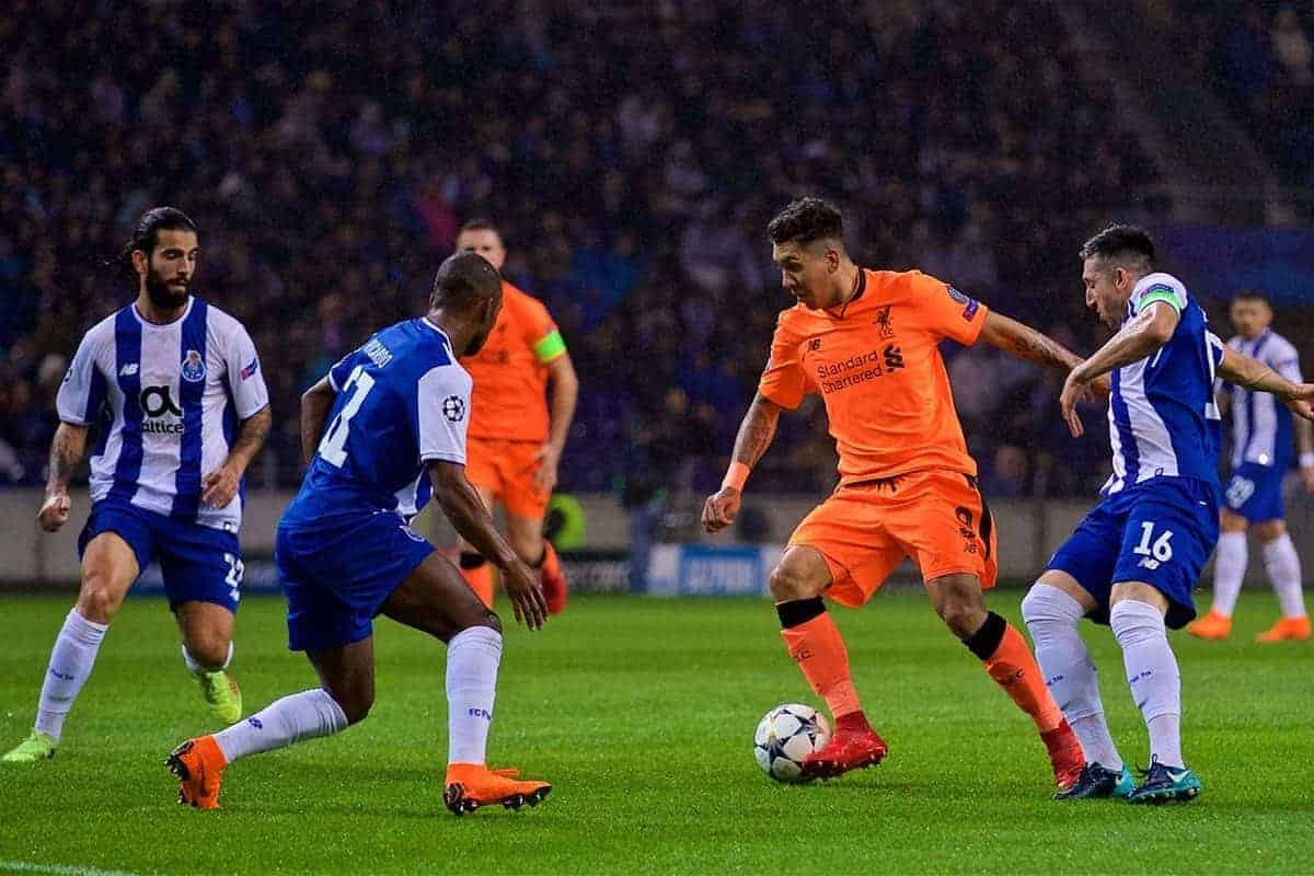 "PORTO, PORTUGAL - Wednesday, February 14, 2018: Liverpool's Roberto Firmino during the UEFA Champions League Round of 16 1st leg match between FC Porto and Liverpool FC on Valentine's Day at the Est·dio do Drag""o. (Pic by David Rawcliffe/Propaganda)"