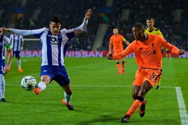 "PORTO, PORTUGAL - Wednesday, February 14, 2018: Liverpool's Georginio Wijnaldum during the UEFA Champions League Round of 16 1st leg match between FC Porto and Liverpool FC on Valentine's Day at the Est·dio do Drag""o. (Pic by David Rawcliffe/Propaganda)"