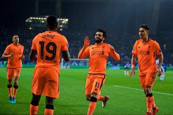 PORTO, PORTUGAL - Wednesday, February 14, 2018: Liverpool's Sadio Mane celebrates scoring the third goal with team-mates Mohamed Salah and Roberto Firmino during the UEFA Champions League Round of 16 1st leg match between FC Porto and Liverpool FC on Valentine's Day at the Estádio do Dragão. (Pic by David Rawcliffe/Propaganda)
