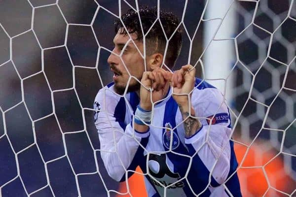 "PORTO, PORTUGAL - Wednesday, February 14, 2018: FC Porto's Alex Telles looks dejected as his side concedes the fourth goal during the UEFA Champions League Round of 16 1st leg match between FC Porto and Liverpool FC on Valentine's Day at the Est·dio do Drag""o. (Pic by David Rawcliffe/Propaganda)"