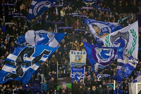 PORTO, PORTUGAL - Wednesday, February 14, 2018: FC Porto's supporters during the UEFA Champions League Round of 16 1st leg match between FC Porto and Liverpool FC on Valentine's Day at the Estádio do Dragão. (Pic by David Rawcliffe/Propaganda)