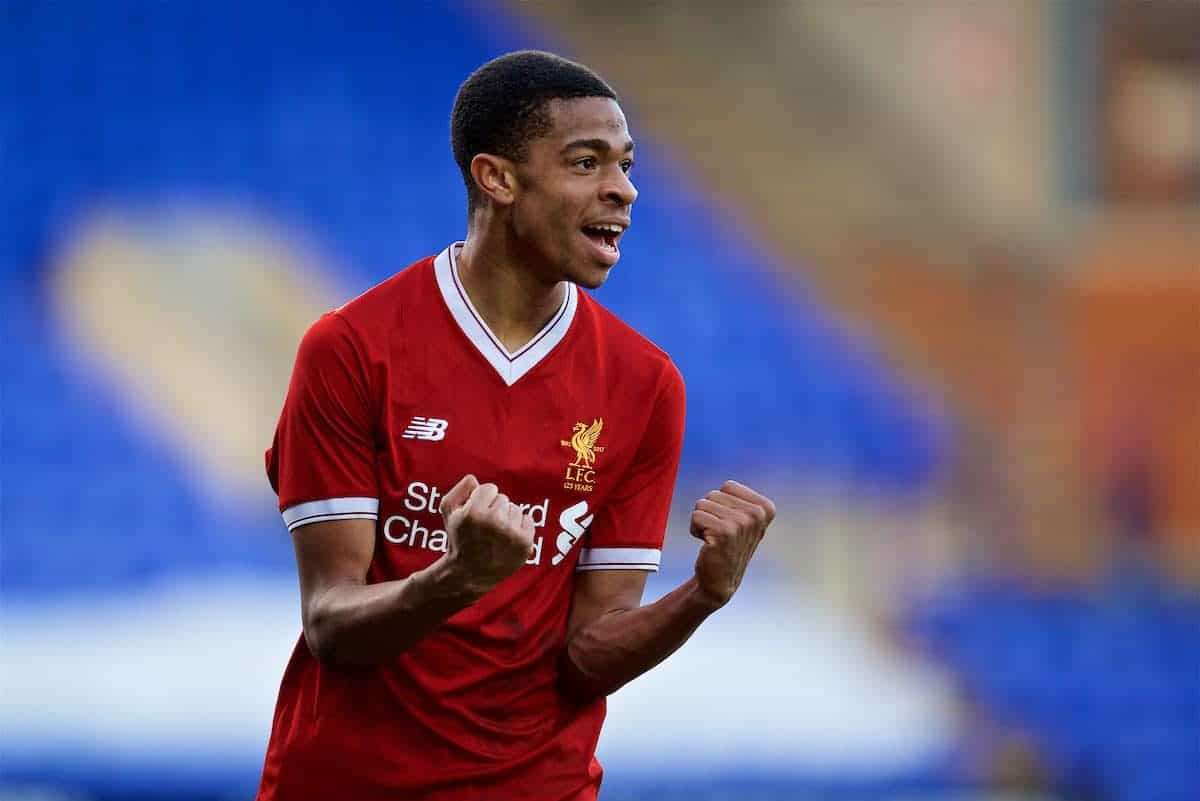 BIRKENHEAD, ENGLAND - Wednesday, February 21, 2018: Liverpool's Elijah Dixon-Bonner celebrates after the 2-0 victory over Manchester United during the UEFA Youth League Quarter-Final match between Liverpool FC and Manchester United FC at Prenton Park. (Pic by David Rawcliffe/Propaganda)
