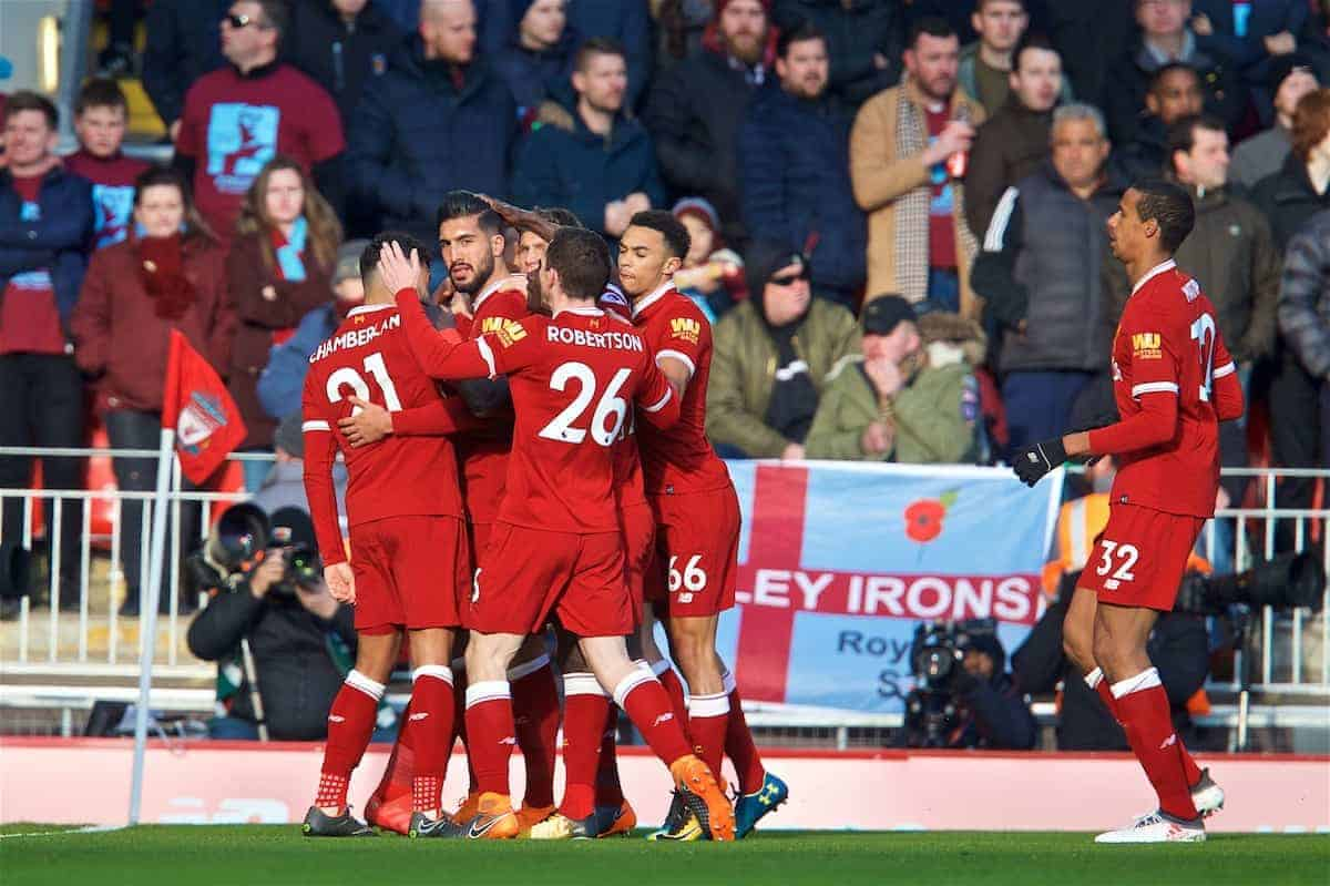 LIVERPOOL, ENGLAND - Saturday, February 24, 2018: Liverpool's Emre Can celebrates scoring the first goal with team-mates during the FA Premier League match between Liverpool FC and West Ham United FC at Anfield. (Pic by David Rawcliffe/Propaganda)