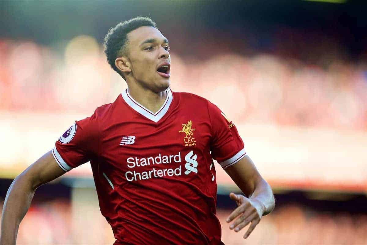 LIVERPOOL, ENGLAND - Saturday, February 24, 2018: Liverpool's Trent Alexander-Arnold during the FA Premier League match between Liverpool FC and West Ham United FC at Anfield. (Pic by David Rawcliffe/Propaganda)