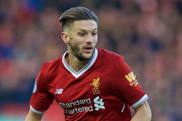 LIVERPOOL, ENGLAND - Saturday, February 24, 2018: Liverpool's Adam Lallana during the FA Premier League match between Liverpool FC and West Ham United FC at Anfield. (Pic by David Rawcliffe/Propaganda)