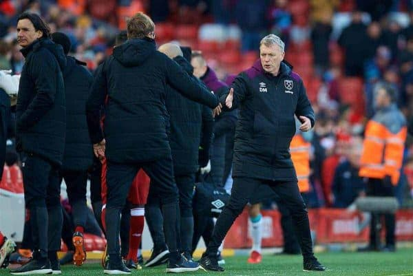 West Ham United's manager David Moyes shakes hands with Liverpool's manager Jürgen Klopp after the FA Premier League match between Liverpool FC and West Ham United FC at Anfield. (Pic by David Rawcliffe/Propaganda)