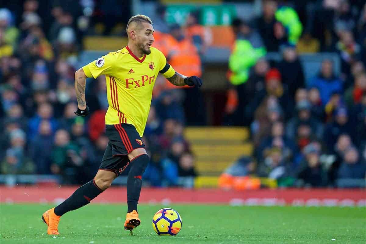 LIVERPOOL, ENGLAND - Saturday, March 17, 2018: Watford's Roberto Pereyra during the FA Premier League match between Liverpool FC and Watford FC at Anfield. (Pic by David Rawcliffe/Propaganda)